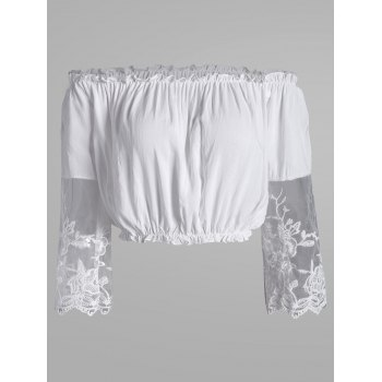 Ruffles Off Shoulder Lace Panel Crop Top