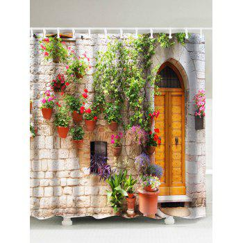 3D Street Flower Door Pattern Waterproof Shower Curtain