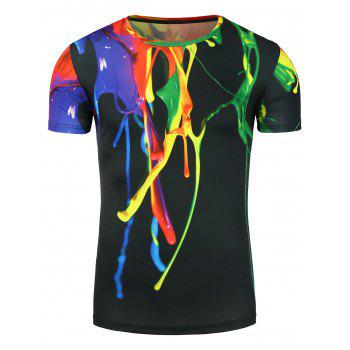 Stretchy 3D Colorful Splatter Paint T-Shirt