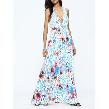Plunging Neck Criss Cross Floral Print Dress