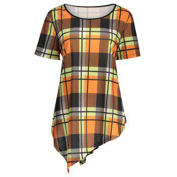 Plus Size Asymmetric Plaid Top