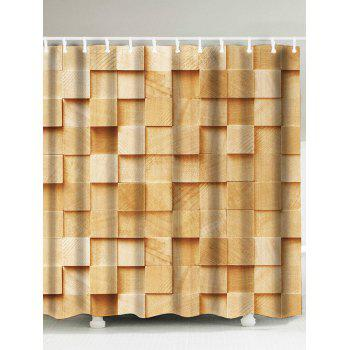 Wood Plaid Pattern Waterproof Shower Curtain