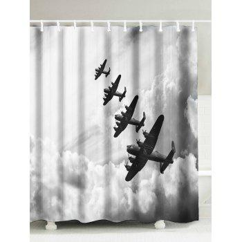 Clouds Airplane Pattern Waterproof Shower Curtain