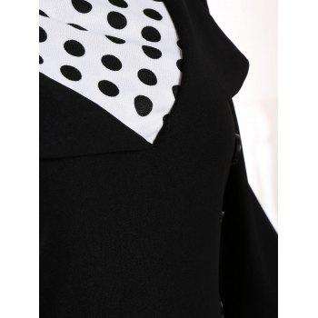 A Line Polka Dot Plus Size Dress - BLACK BLACK
