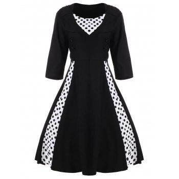 A Line Polka Dot Plus Size Dress - BLACK 7XL