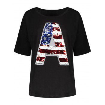 Sequin American Flag Plus Size Tee