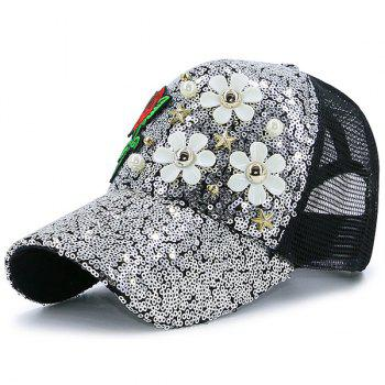 Faux Pearl Pentagram Rose Embroidery Sequin Hat