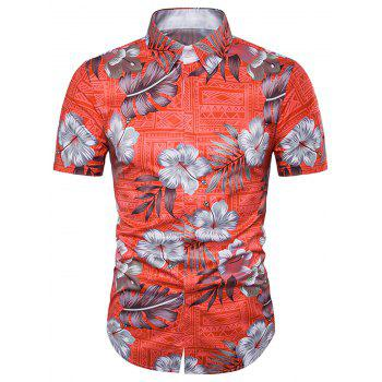 Tribal Floral Print Cover Placket Hawaiian Shirt