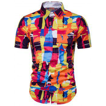 Color Block Cover Placket Hawaiian Shirt