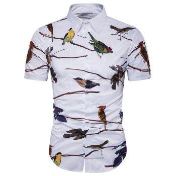 Birds 3D Print Cover Placket Hawaiian Shirt