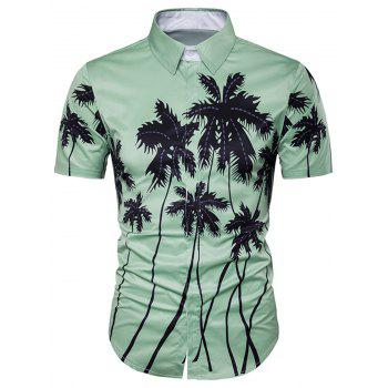 Cover Placket Coconut Tree Printed Hawaiian Shirt