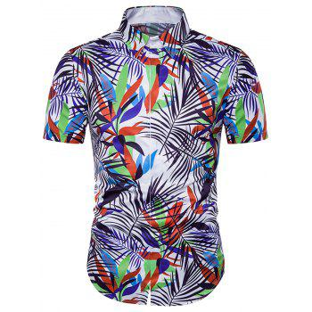 Leaves Colorful Print Cover Placket Hawaiian Shirt