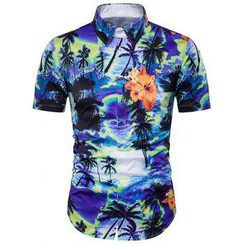 Trees Tie Dye Print Cover Placket Hawaiian Shirt