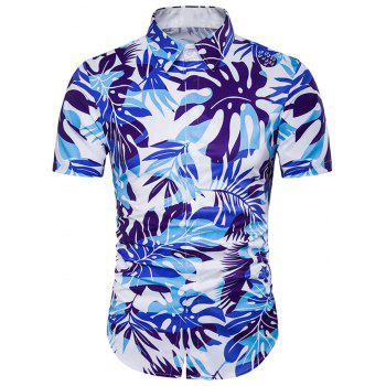 Leaves Ombre Print Cover Placket Hawaiian Shirt