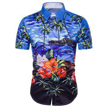 Floral Tie Dye Print Cover Placket Hawaiian Shirt
