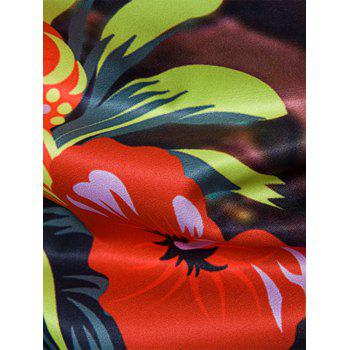 Floral Tie Dye Print Cover Placket Hawaiian Shirt - RED L
