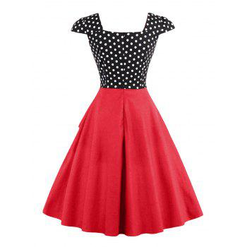 Buttoned Polka Dot Vintage Corset Dress - RED S