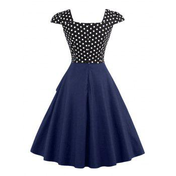 Buttoned Polka Dot Vintage Corset Dress - PURPLISH BLUE S