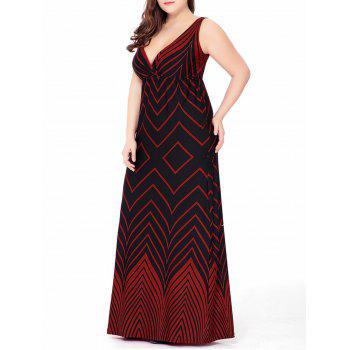 Plus Size Zigzag Plunge Floor Length Maxi Beach Dress