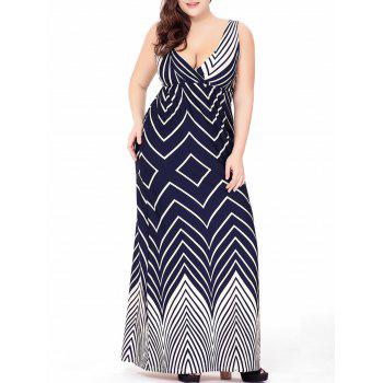 Plus Size Zigzag Plunge Maxi Beach Dress