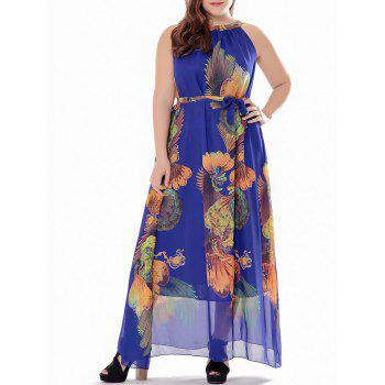 Plus Size Printed High Neck Maxi Chiffon Dress