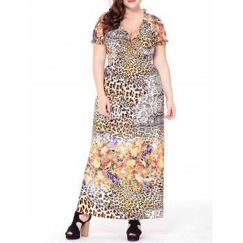 Plus Size Floral Leopard Printed Maxi V Neck Dress