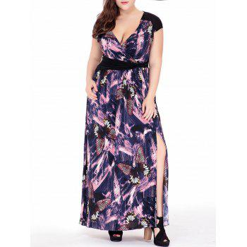 Back Cutout Plus Size Butterfly Printed Plunge Maxi Dress