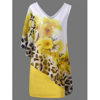 V Neck Floral and Cheetah Print Capelet Party Dress
