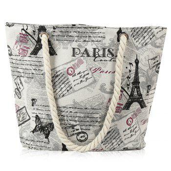 Rope Printed Canvas Beach Bag