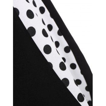 A Line Polka Dot Plus Size Dress - BLACK 8XL