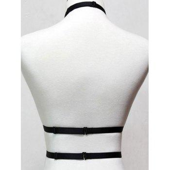 Cut Out Choker Halter Bra - BLACK ONE SIZE