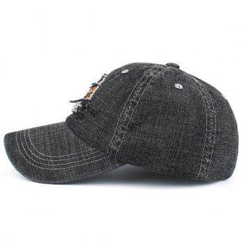 Denim Letters Patchwork Embroidered Baseball Hat - YELLOW