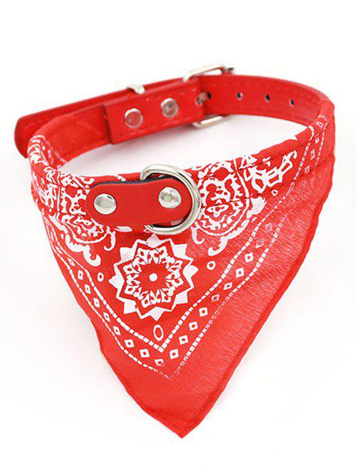 Totem PU Triangle High End Pet Dog Saliva Towels Bib - RED L