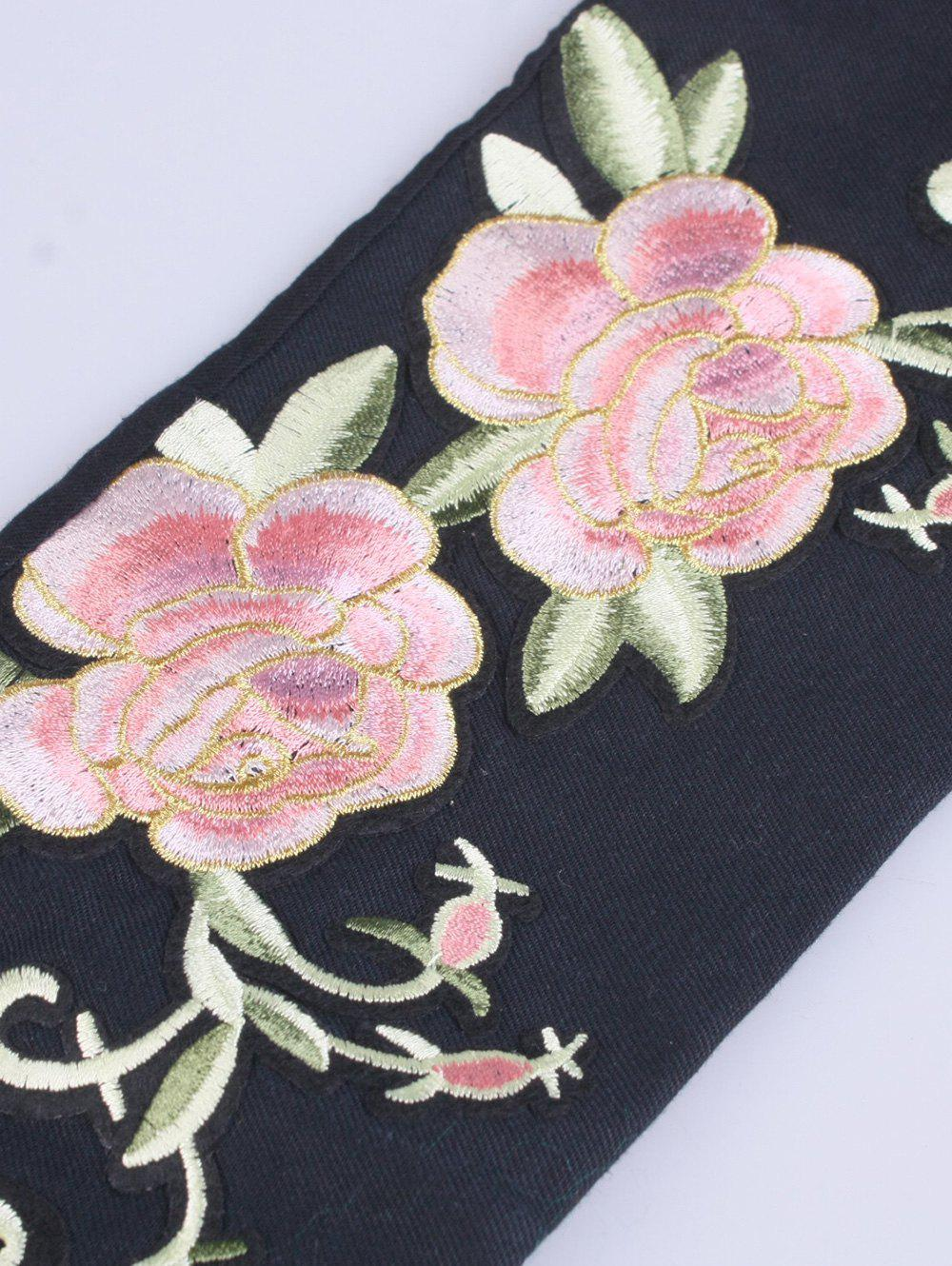 Wide Chinoiserie Flowers Embroidery Banded Corset Belt - BLACK