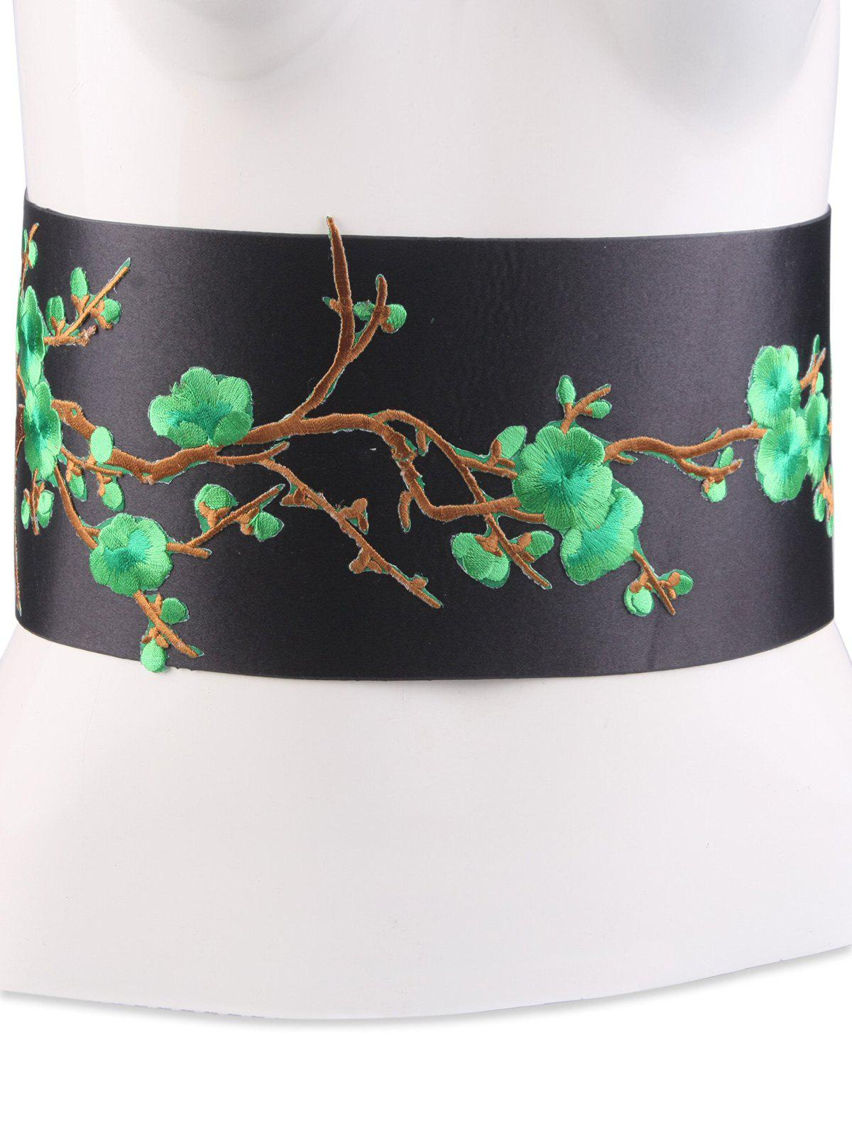 Chinoiserie Banded Flowers Branch Broderie Corset Belt - GREEN