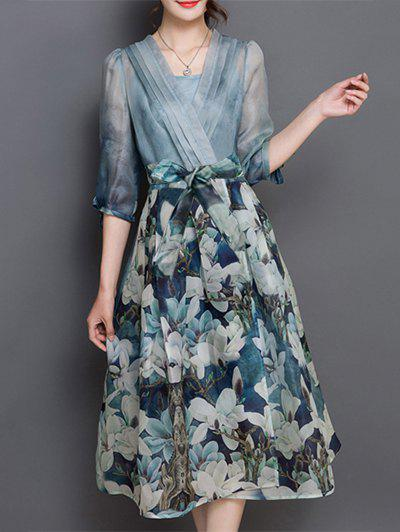 V Neck Floral Print Tea Length Wrap Dress - BLUE S