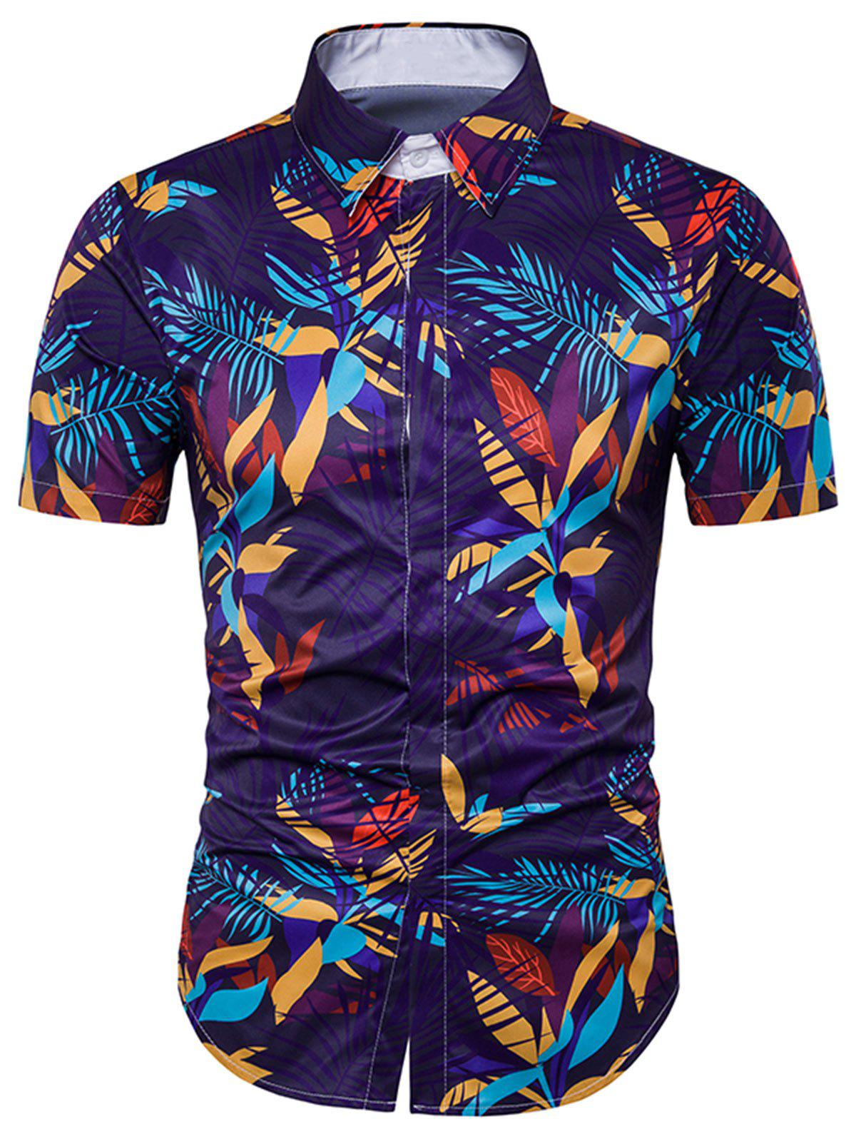 Cover Placket Leaves Printed Hawaiian Shirt - COLORMIX M