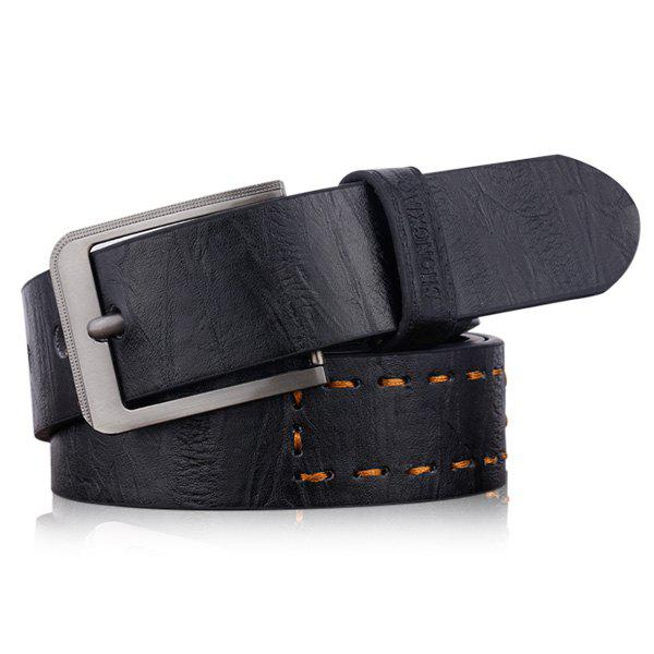 Artificial Leather Letters Hot Stamping Belt - BLACK