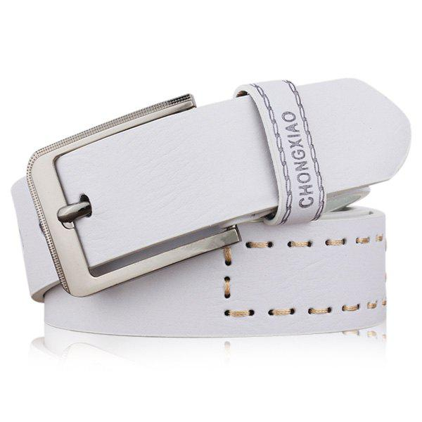 Artificial Leather Letters Hot Stamping Belt - WHITE