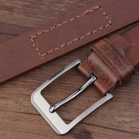 Artificial Leather Letters Hot Stamping Belt - COFFEE