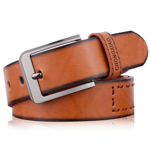Artificial Leather Letters Hot Stamping Belt - BROWN