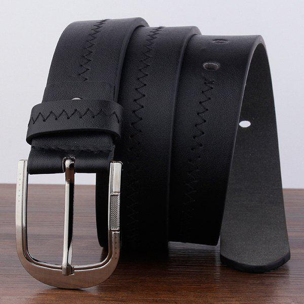 Embroidered Faux Leather Star Pin Buckle Belt - BLACK