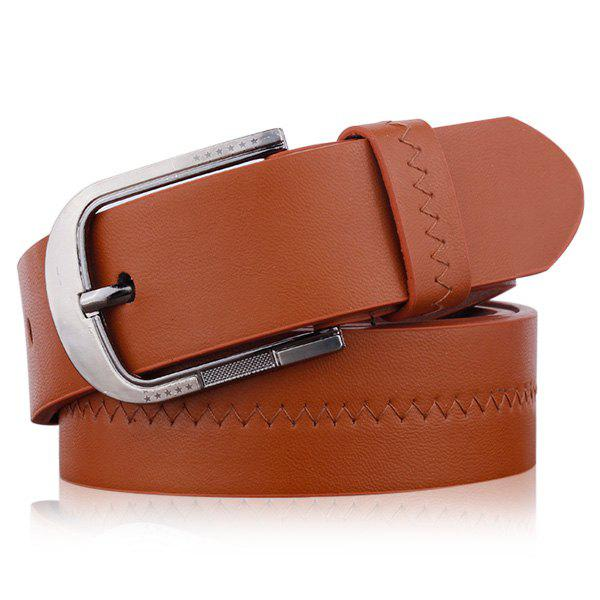 Brodé Faux Leather Star Pin Buckle Belt - Brun