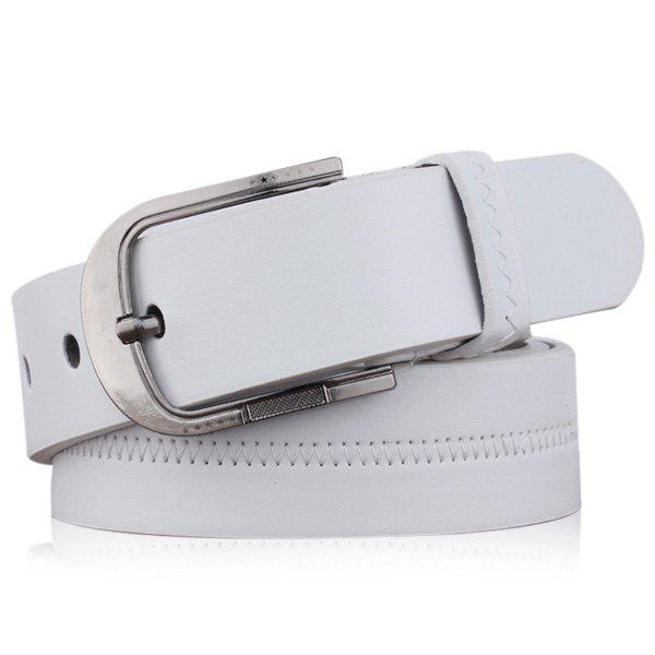Embroidered Faux Leather Star Pin Buckle Belt, White