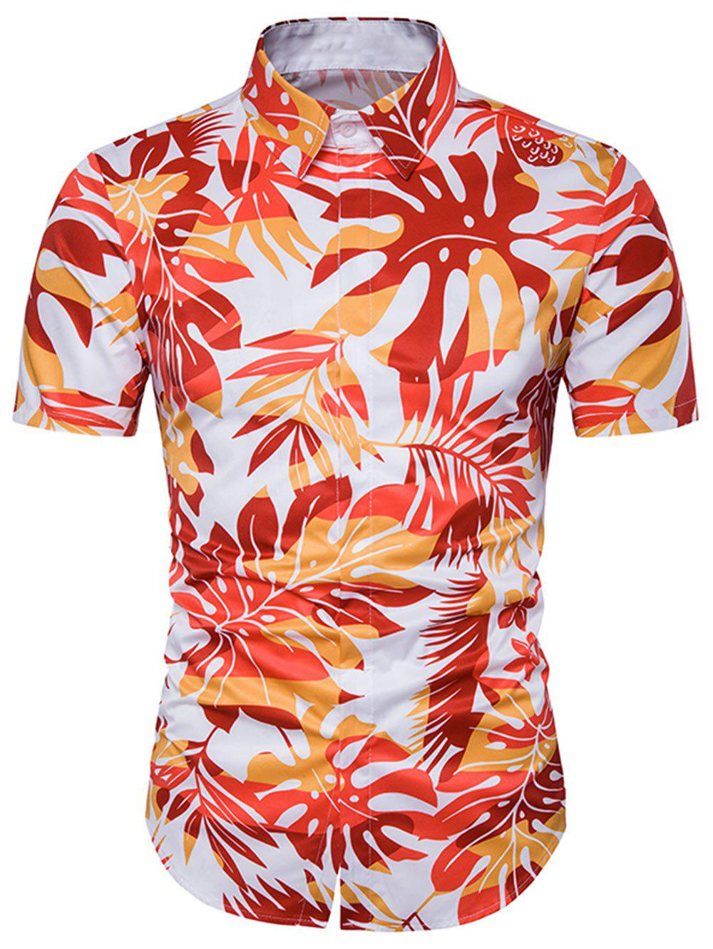 Leaves Ombre Print Cover Placket Hawaiian Shirt trees tie dye print cover placket hawaiian shirt page 1