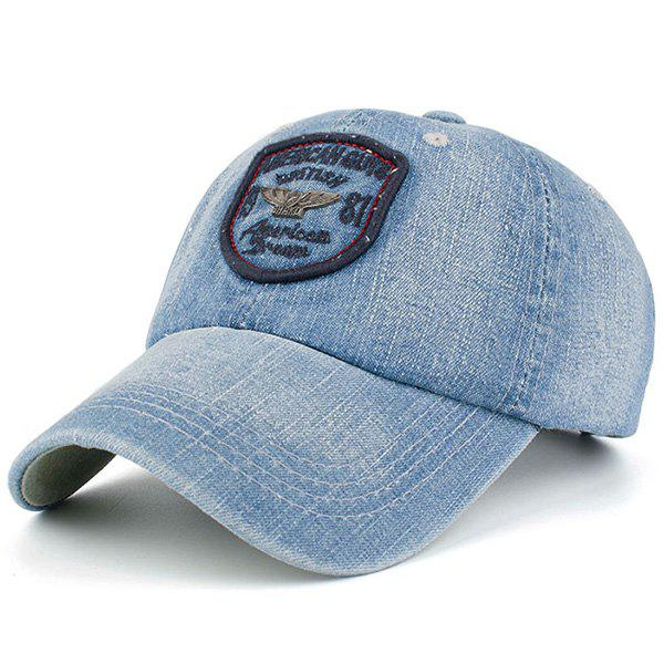 Letters Badge Embellished Denim Baseball Hat - CADETBLUE