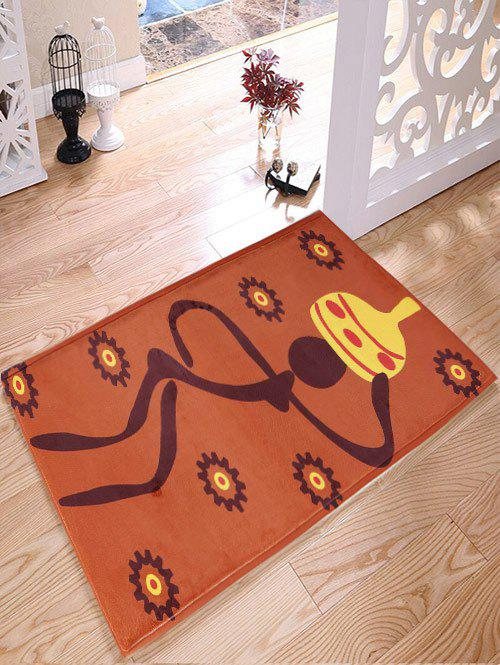 Figure Pattern Antiskid Flannel Water Absorption African Rug