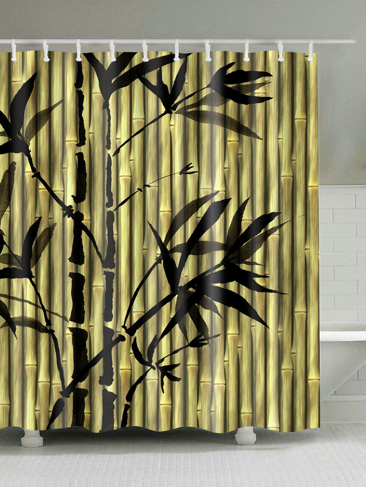 Chinese Bamboo Ink Painting Shower Curtain ink painting dotted waterproof shower curtain