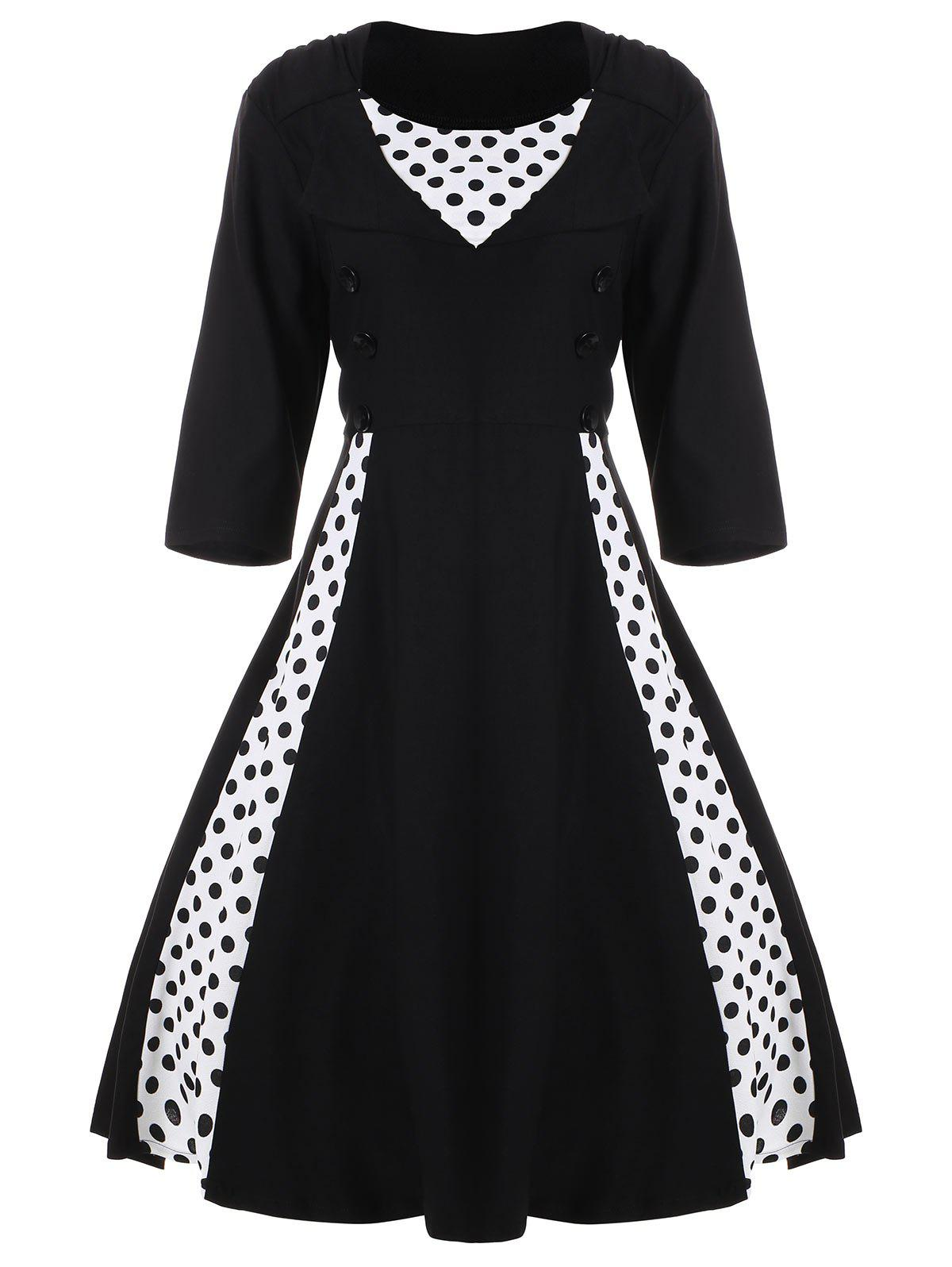 A Line Polka Dot Plus Size Dress - BLACK 5XL