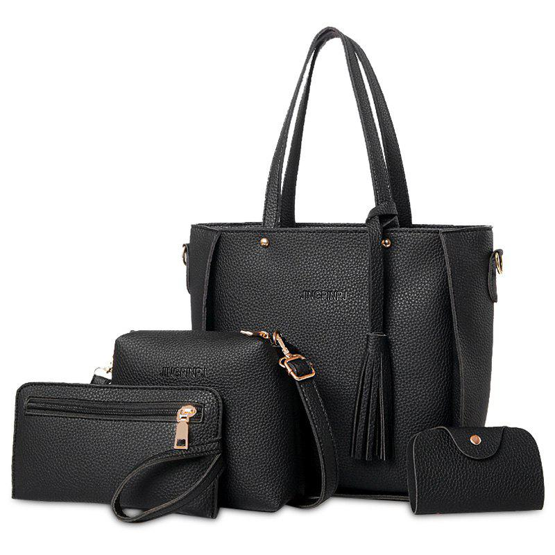 Fuax Leather Tassel Tote Bag Set - BLACK
